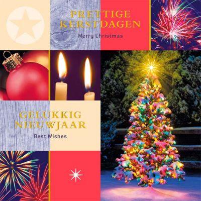 Kleurrijke  warme kerstkaart met kerstwens in goudfolie