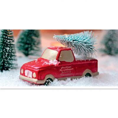Kerstkaart KWF | Auto met kerstboom op dak