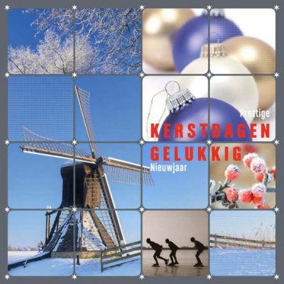 Kerstkaart met winterse beelden van molen en schaatsers.