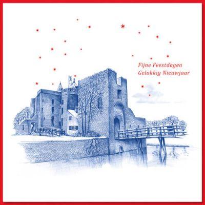 Kerstkaart Santpoort met blauwe pentekening van Ruïne van Brederode