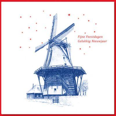 Kerstkaart Santpoort met tekening van molen de Zandhaas