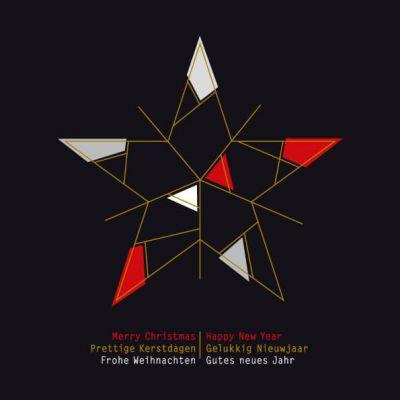 kerstkaart met abstracte ster in rood, zwart en goud