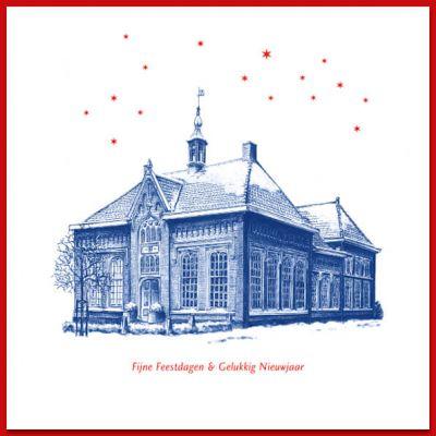 Kerstkaart Udenhout    Delfstblauw - voormalig Raadhuis
