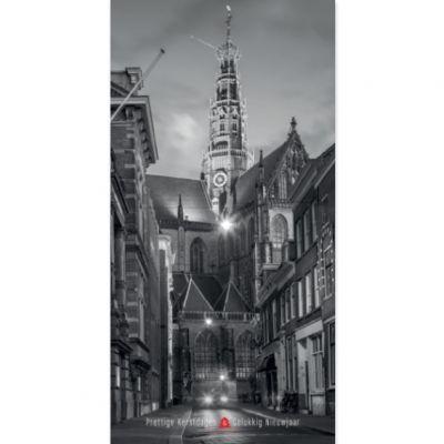 Zicht op Bavokerk Smedestraat | Haarlem zwart-wit