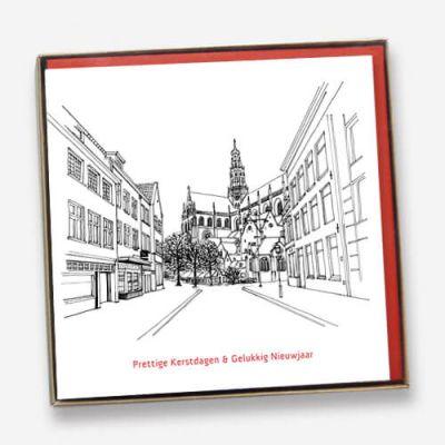 Kerstkaarten set Haarlem (6 stuks) getekend in zwart