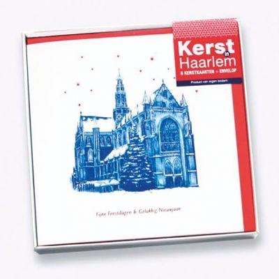 Verpakking met Haarlemse kerstkaarten met blauwe pentekeningen, Bavokerk, Coster en Adriaan