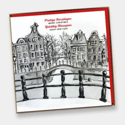 Doosje met 6  luxe kerstkaarten Amsterdam, tekening Pejo.