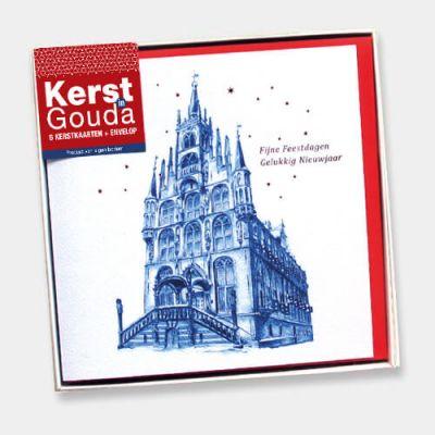 Verpakking met 6 kerstkaarten van Gouda en rode enveloppen.