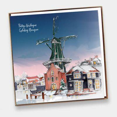 Doosje met 6 Haarlemse kerstkaarten en enveloppen, 3x molen de Adriaan en 3x Gravestenenbrug.