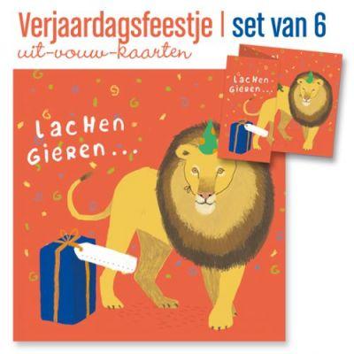 Set van 6  uitnodigingen kinderfeest met leeuw