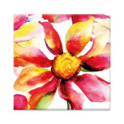 Koelkastmagneet met aquarel grote rode bloem