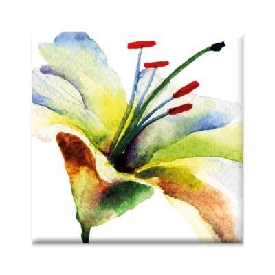 Magneet lelie bloem, vierkant