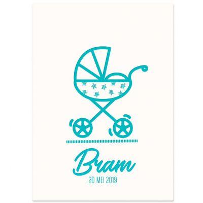 Letterpress geboortekaartje voor jongen met wandelwagen in zeegroen op gebrokenwit karton