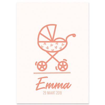 Letterpress geboortekaartje voor meisje met tekening wandelwagentje op gebroken wit karton