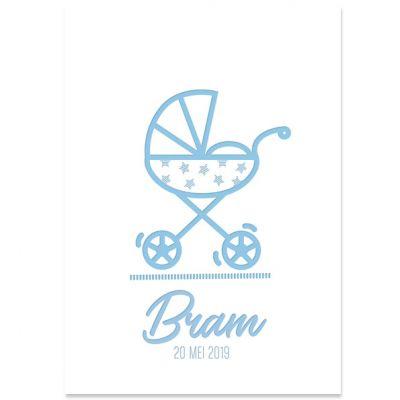Letterpress geboortekaartje voor geboorte jongen met wandelwagen in zacht blauw