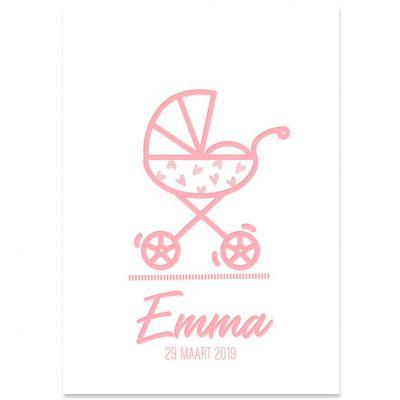 Letterpress geboortekaartje meisje met wandelwagentje roze