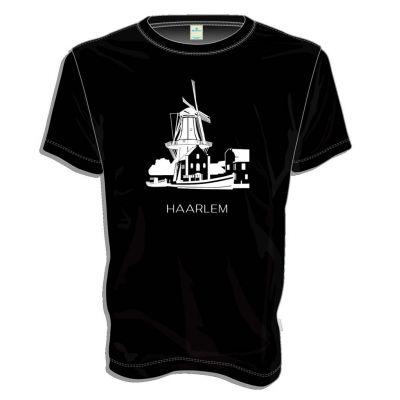 Zwart T-shirt Haarlem, Molen de Adriaan in wit