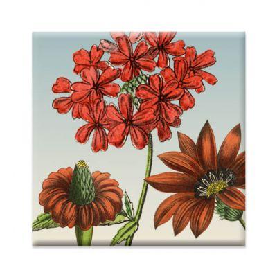 Koelkastmagneetje bloemen rood