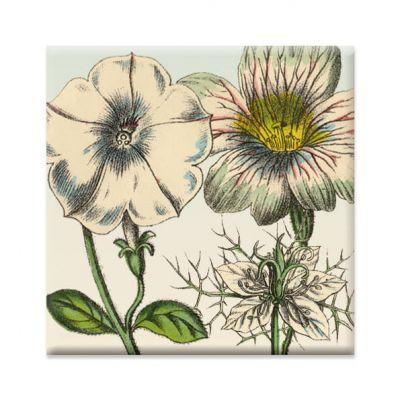 Koelkastmagneet met witte bloemen