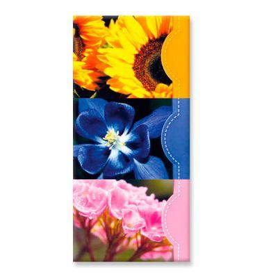 Set van 3 memoblokjes, zonnebloem, hortensia en paarse bloem