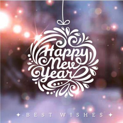 Nieuwjaarskaart Happy New Year, Best wishes