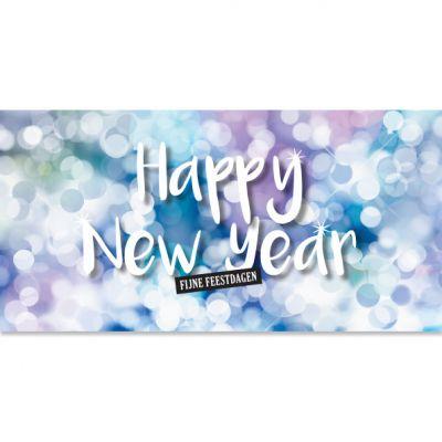 Nieuwjaarskaart liggend, Happy New Year in pasteltinten