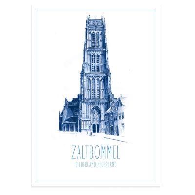 A4 poster Skyline Deventer in blauw