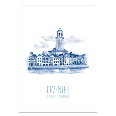 A3 poster Skyline Deventer in blauw
