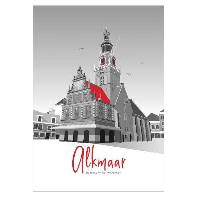 Poster Alkmaar, Waag in rood en grijs