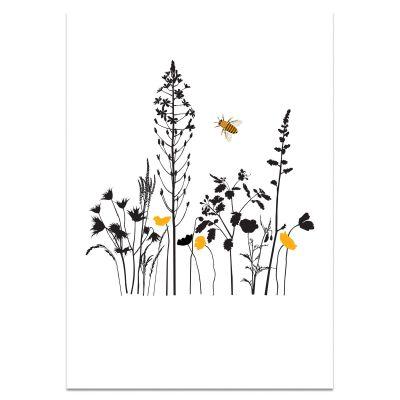 A3 poster bloemetjes en bijtje, ook voor kinderkamer