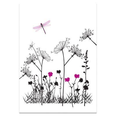 Poster wilde bloemen en libelle, A3