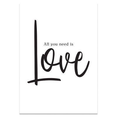 Tekst poster A4 'All you need is Love' in zwart/wit