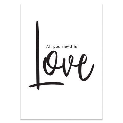 A3 poster teksten in zwart, All you need is love