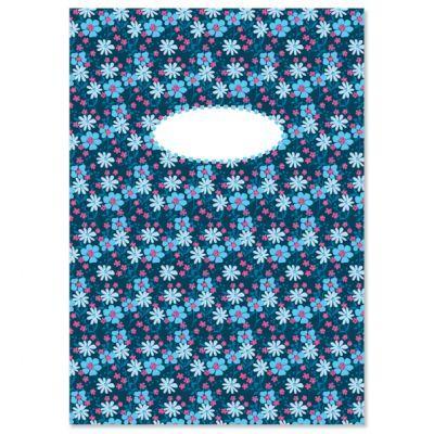 Schrift A5 bloemetjes blauw, gelinieerd