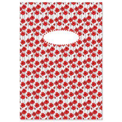 Schrift 5 bloemen rood lijntjes