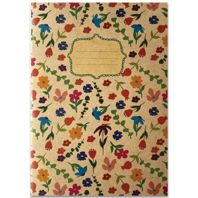 Schrift A5 met bloemetjes op kraftkarton met lijntjes