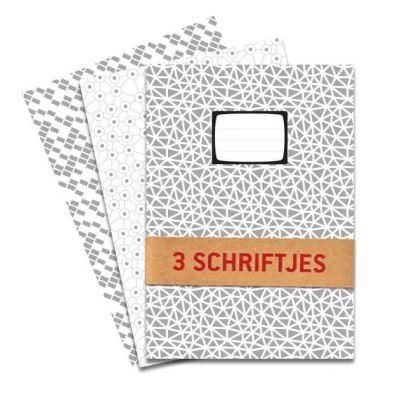 Pak van 3 Schriften Ruitjes in zwart wit