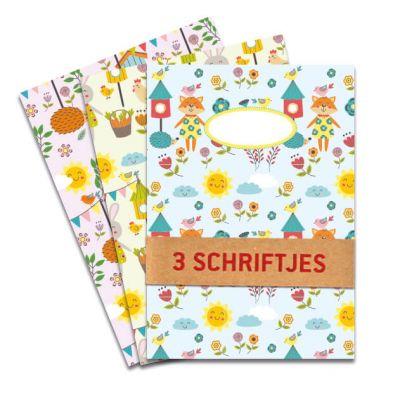 Set van 3 schriften A5 Little Kids, met illustraties van lieve diertjes, vogeltjes en bloemen . Drie verschillende designs per set. Gelinieerd binnenwerk.