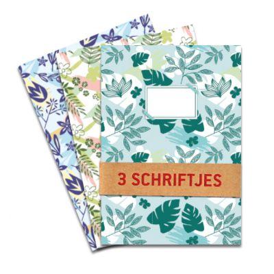 Set van 3 schriften A5 met botanische motiefjes. Drie verschillende designs per set. Gelinieerd binnenwerk.