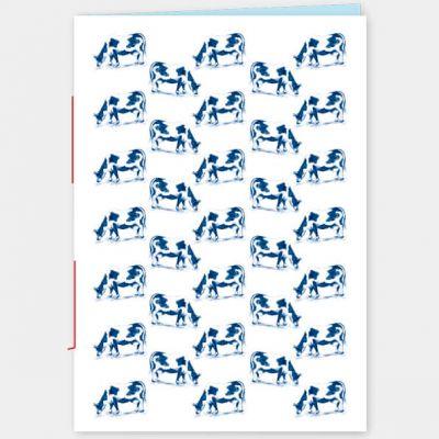 Schrift A5 Koeien in blauw, lijntjes