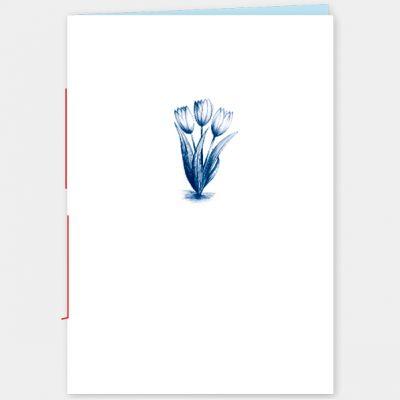 A6 Schriftje, met illustratie van tulpjes in blauw, gelinieerd