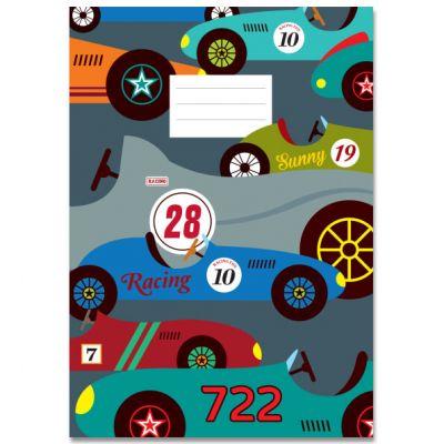 A5 Schrift Race autootjes groot en klein, met lijntjes
