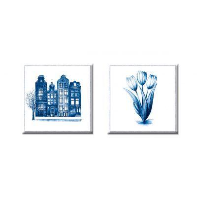 magneten Amsterdam en Tulpen in delfstblauw, set van 2