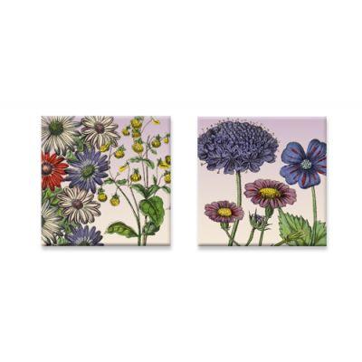 Set van twee vierkante koelmagneetjes bloemen