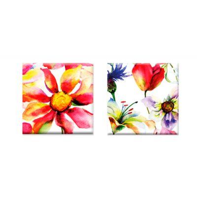 Magneten bloemen aquarel, set van 2