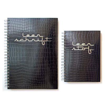 Set notitieboek A5 en Notitieboek A6, zwart en zilverfolie