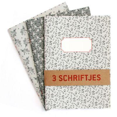 Set van 3 Schriften A5 met hippe motiefjes in grijstinten, lijntjes
