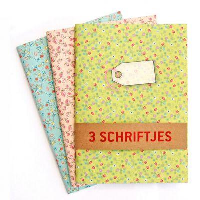 Set van 3 schriften met bloemetjes in pastelkleuren, lijntjes