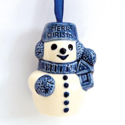 Kerstversiering Delfstblauw keramiek - sneeuwpoppetje