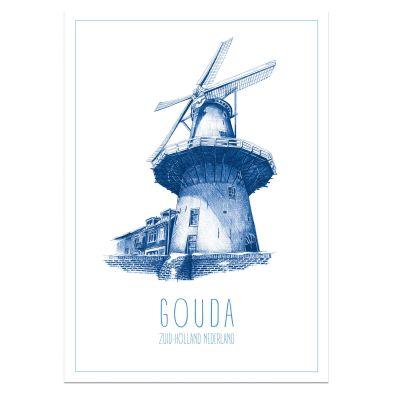 Gouda poster A4, met stadhuis